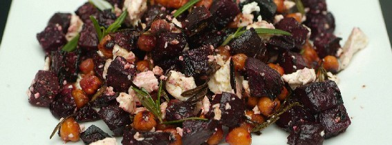 Roast beetroot and chickpea bake with rosemary and feta