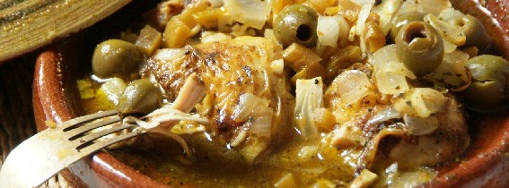 Moroccan chicken, lime pickle and green olive tagine