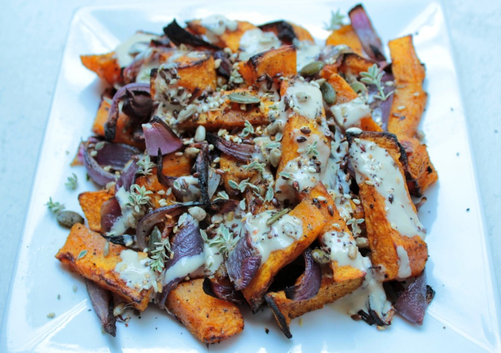Roasted butternut and red onion topped with Za'atar and Tahini sauce