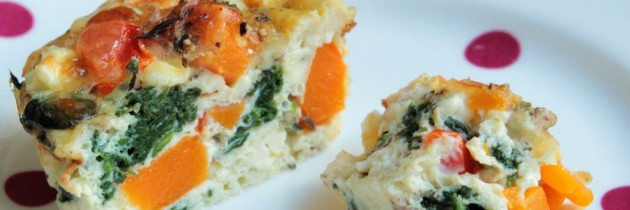 Mini crustless quiche – so quick (and almost guilt free).