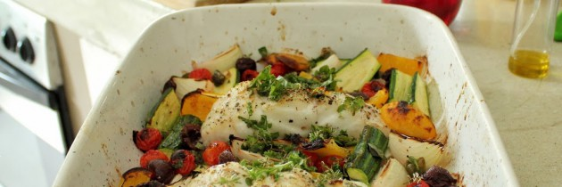 Grilled kingklip with Mediterranean veg