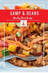 For a rich twist to this traditional South African dish, try my stew version of a classic: a yummy and comforting Samp and beans recipe with meat.