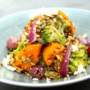 Roasted butternut, broccoli and barley salad