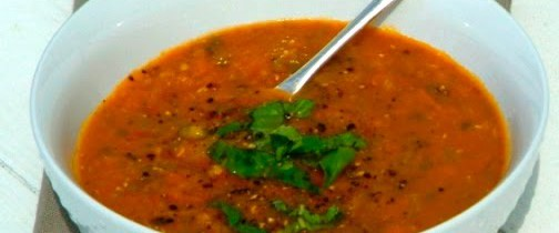 Roast tomato and lentil soup