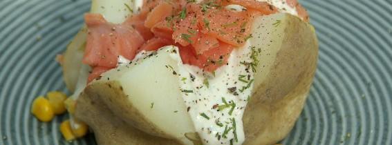 Super quick salmon, sour cream and sweetcorn jacket potato