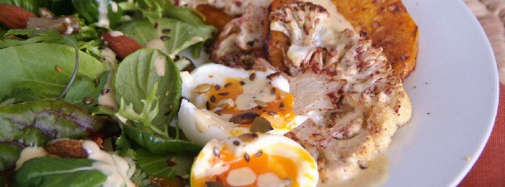 Roast veg salad with Caesar dressing