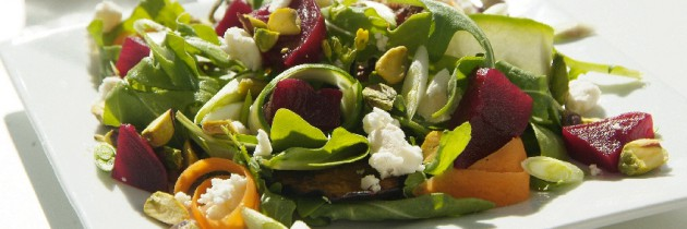 Beetroot, pistachio and goats cheese salad
