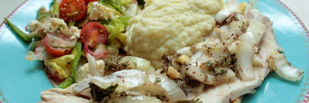 Grilled Kabeljou with cauliflower mash