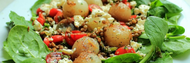 Caramelised baby onion, rosa tomato and lentil salad