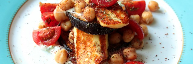 Grilled Aubergine and Haloumi Salad